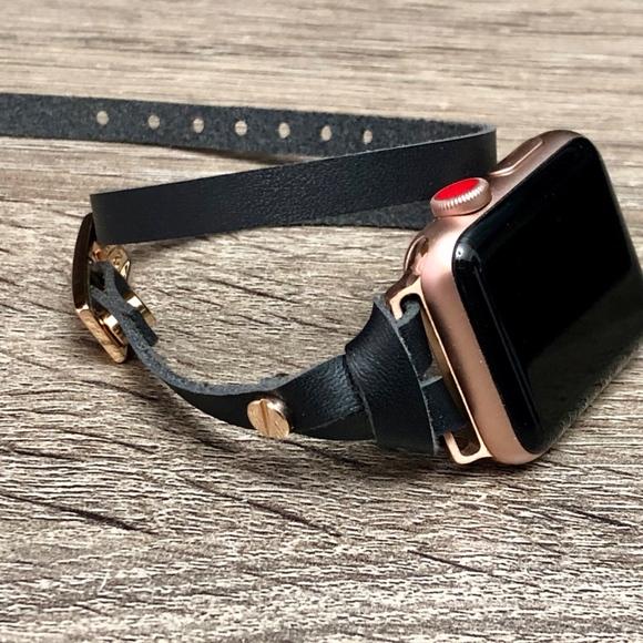 Simeon D Accessories Rose Gold Apple Watch Band Black Leather Bracelet Poshmark